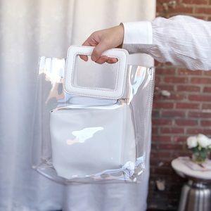 Handbags - 🆕Mabel White & Clear PVC Top Handle Tote Bag